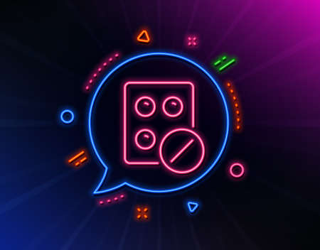 Medical tablet line icon. Neon laser lights. Medicine drugs sign. Pharmacy medication symbol. Glow laser speech bubble. Neon lights chat bubble. Banner badge with medical tablet icon. Vector Ilustrace