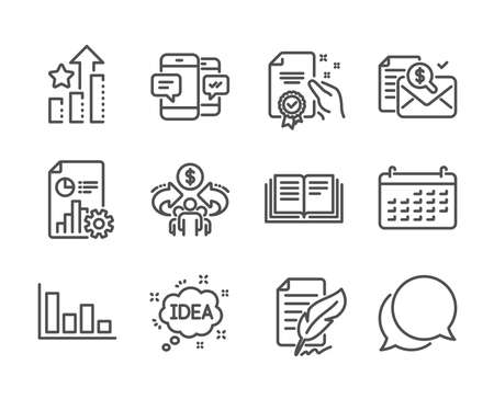Set of Education icons, such as Chat message, Certificate, Ranking stars, Education, Sharing economy, Calendar, Accounting report, Histogram, Report, Smartphone sms, Idea line icons. Vector