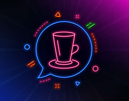 Cup of Tea line icon. Neon laser lights. Fresh beverage sign. Latte or Coffee symbol. Glow laser speech bubble. Neon lights chat bubble. Banner badge with teacup icon. Vector