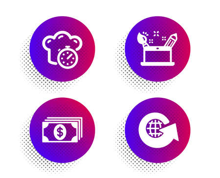 Creativity concept, Banking and Cooking timer icons simple set. Halftone dots button. World globe sign. Graphic art, Money payment, Stopwatch. Around the world. Business set. Vector