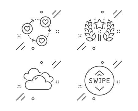 Ranking, Cloudy weather and Friends community line icons set. Swipe up sign. Laurel wreath, Sky climate, Love. Scroll screen. Business set. Line ranking outline icon. Vector 스톡 콘텐츠 - 133855699