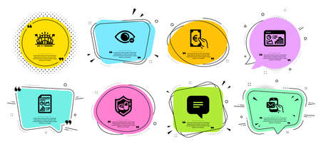 Medical tablet, Sports arena and Report document line icons set. Chat bubbles with quotes. Messenger mail, Seo statistics and Myopia signs. Text message, Finance symbols. Vector Vectores