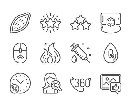 Set of Business icons, such as No alcohol, Like photo, Fire energy, Swipe up, Collagen skin, Augmented reality, Ranking stars, Medical syringe, 360 degree, Cocoa nut, Loan percent, Star. Vector Reklamní fotografie - 133855707