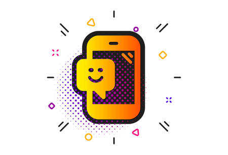 Positive feedback rating sign. Halftone circles pattern. Smile phone icon. Customer satisfaction symbol. Classic flat smile icon. Vector  イラスト・ベクター素材