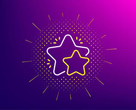 Star line icon. Halftone pattern. Feedback rating sign. Customer satisfaction symbol. Gradient background. Star line icon. Yellow halftone pattern. Vector
