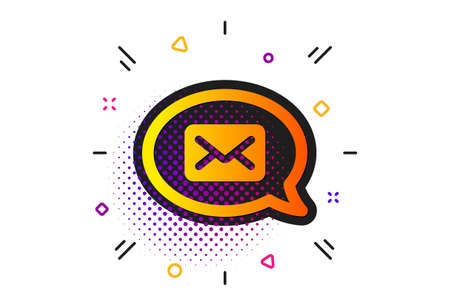 Messenger communication sign. Halftone circles pattern. Mail icon. E-mail symbol. Classic flat messenger icon. Vector