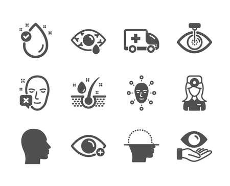 Set of Medical icons, such as Vitamin e, Health eye, Face biometrics, Face declined, Сonjunctivitis eye, Head, Serum oil, Farsightedness, Ambulance emergency, Oculist doctor. Vitamin e icon. Vector Ilustrace