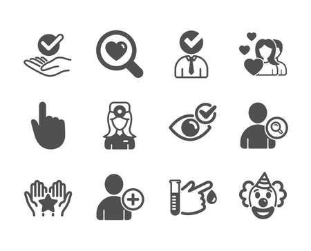 Set of People icons, such as Approved, Couple, Ranking, Oculist doctor, Search love, Add user, Clown, Find user, Hand click, Vacancy, Check eye, Blood donation classic icons. Approved icon. Vector