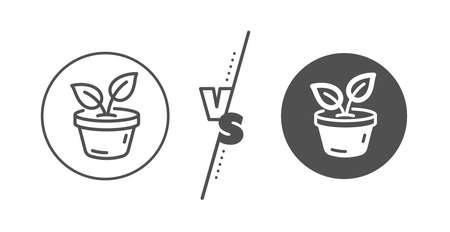 Grow plant leaf sign. Versus concept. Leaves line icon. Environmental care symbol. Line vs classic leaves icon. Vector Archivio Fotografico - 133856020