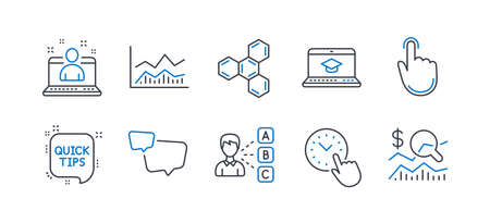 Set of Education icons, such as Best manager, Speech bubble, Trade infochart, Quick tips, Hand click, Opinion, Website education, Time management, Chemical formula, Check investment. Vector Reklamní fotografie - 133856032