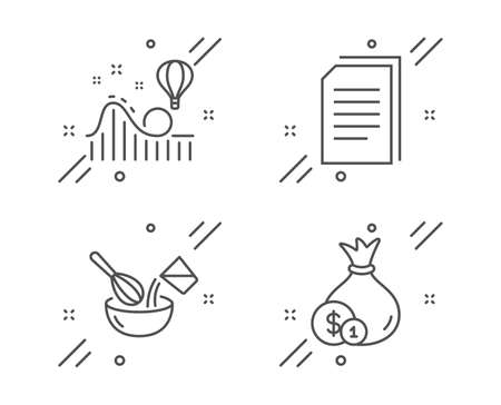 Cooking whisk, Roller coaster and Copy files line icons set. Cash sign. Cutlery, Attraction park, Copying documents. Banking currency. Business set. Line cooking whisk outline icon. Vector