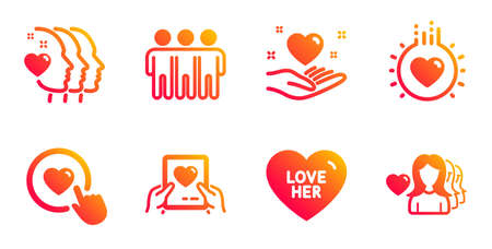 Love her, Friendship and Friends couple line icons set. Like button, Love mail and Hold heart signs. Sweetheart, Trust friends. Love set. Gradient love her icons set. Vector  イラスト・ベクター素材