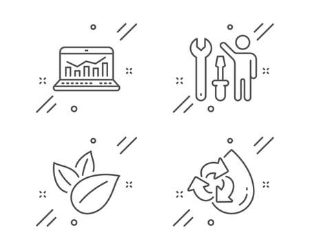 Repairman, Organic product and Web analytics line icons set. Recycle water sign. Repair screwdriver, Leaves, Statistics. Refill aqua. Technology set. Line repairman outline icon. Vector Archivio Fotografico - 133855736