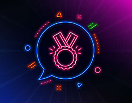 Award Medal line icon. Neon laser lights. Winner achievement symbol. Glory or Honor sign. Glow laser speech bubble. Neon lights chat bubble. Banner badge with honor icon. Vector