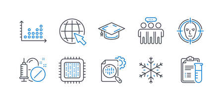 Set of Science icons, such as Dot plot, Cpu processor, Graduation cap, Medical drugs, Face detect, Employees group, Snowflake, Internet, Seo stats, Medical analyzes line icons. Vector Reklamní fotografie - 133855738