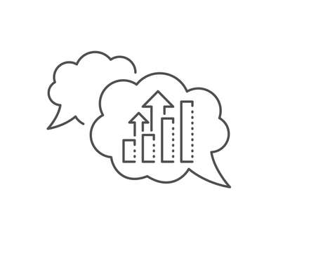 Analysis graph line icon. Chat bubble design. Results chart sign. Traffic management symbol. Outline concept. Thin line analysis graph icon. Vector
