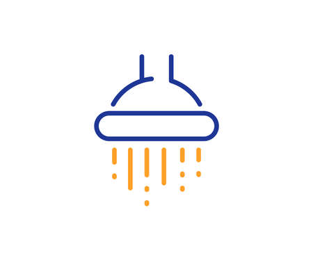 Bathroom sign. Shower line icon. Hotel service symbol. Colorful outline concept. Blue and orange thin line shower icon. Vector