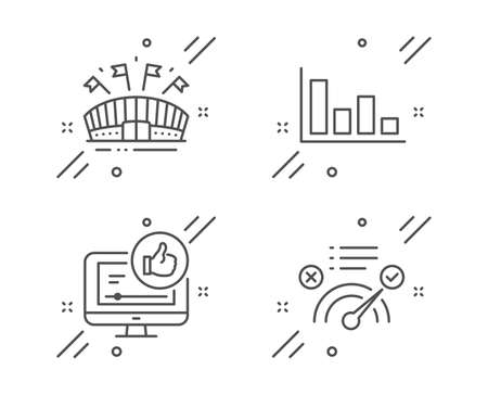 Histogram, Sports arena and Like video line icons set. Correct answer sign. Economic trend, Event stadium, Thumbs up. Approved. Business set. Line histogram outline icon. Vector Illusztráció