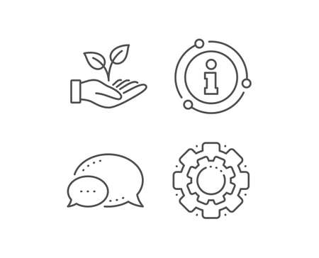Helping hand line icon. Chat bubble, info sign elements. Charity gesture sign. Startup plant symbol. Linear helping hand outline icon. Information bubble. Vector Archivio Fotografico - 133855837
