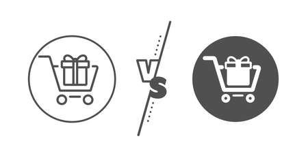 Present or Sale sign. Versus concept. Shopping cart with Gift box line icon. Birthday Shopping symbol. Package in Gift Wrap. Line vs classic shopping cart icon. Vector