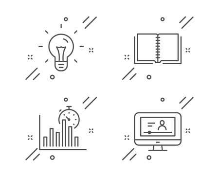 Report timer, Idea and Book line icons set. Online video sign. Growth chart, Light bulb, E-learning course. Video exam. Education set. Line report timer outline icon. Vector Archivio Fotografico - 133855842