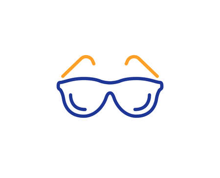 Oculist clinic sign. Eyeglasses line icon. Optometry vision symbol. Colorful outline concept. Blue and orange thin line eyeglasses icon. Vector