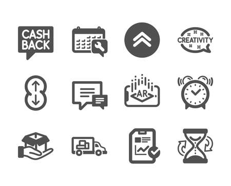 Set of Business icons, such as Truck transport, Alarm clock, Augmented reality, Spanner, Scroll down, Comment, Hold box, Money transfer, Report checklist, Creativity, Swipe up, Hourglass. Vector
