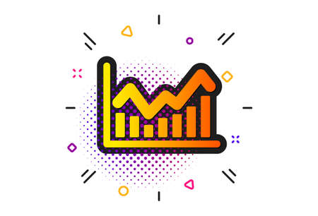 Economic graph sign. Halftone circles pattern. Financial chart icon. Stock exchange symbol. Business investment. Classic flat infochart icon. Vector Archivio Fotografico - 133855903