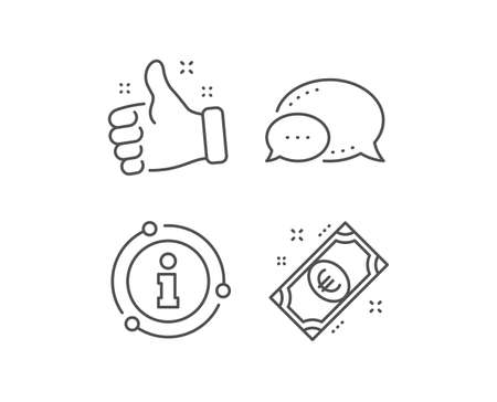 Euro money line icon. Chat bubble, info sign elements. Payment method sign. Eur symbol. Linear euro money outline icon. Information bubble. Vector