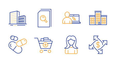 Add products, Buildings and Online education line icons set. Company, Search files and Woman signs. Capsule pill, Payment exchange symbols. Shopping cart, City architecture. Business set. Vector 일러스트