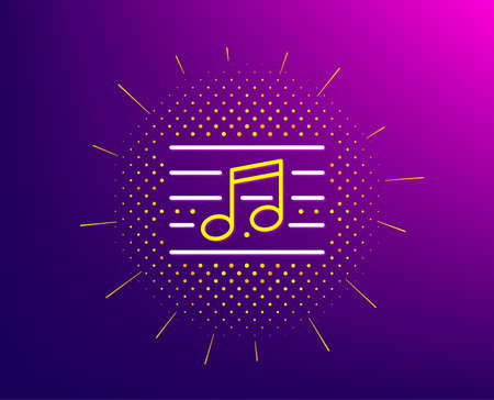 Musical note line icon. Halftone pattern. Music sign. Gradient background. Musical note line icon. Yellow halftone pattern. Vector
