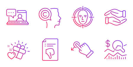 Thumb down, Drag drop and Friends chat line icons set. Love gift, Face detect and Writer signs. Helping hand, Check investment symbols. Decline file, Move. Business set. Vector Stok Fotoğraf - 133855948
