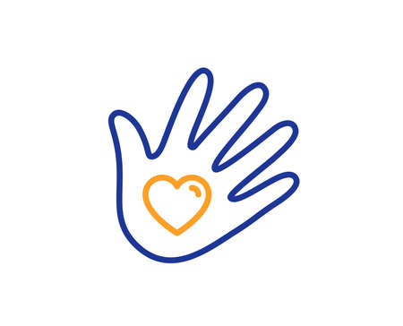 Hand with heart sign. Social responsibility line icon. Charity symbol. Colorful outline concept. Blue and orange thin line social responsibility icon. Vector 일러스트