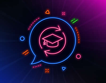 Continuing education line icon. Neon laser lights. Online education sign. Glow laser speech bubble. Neon lights chat bubble. Banner badge with continuing education icon. Vector