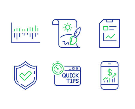 Quick tips, Confirmed and Column diagram line icons set. Report document, Creative painting and Mobile finance signs. Helpful tricks, Accepted message, Sale statistics. Statistics file. Vector
