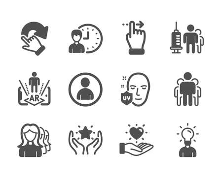 Set of People icons, such as Avatar, Group, Touchscreen gesture, Hold heart, Working hours, Rotation gesture, Uv protection, Women headhunting, Ranking, Augmented reality, Education. Vector