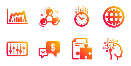 Globe, Dj controller and Chemistry molecule line icons set. Payment received, Strategy and Time signs. Infographic graph, Idea symbols. Internet world, Musical device. Education set. Vector
