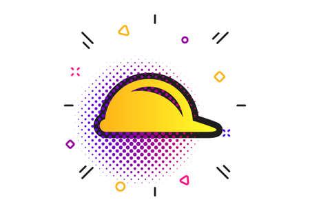 Hard hat sign icon. Halftone dots pattern. Construction helmet symbol. Classic flat helmet icon. Vector Ilustrace
