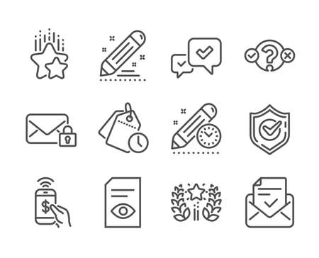Set of Education icons, such as View document, Secure mail, Time management, Quiz test, Approved mail, Confirmed, Phone payment, Brand contract, Project deadline, Ranking, Ranking stars. Vector
