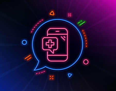 Medicine phone line icon. Neon laser lights. Mobile medical help sign. Glow laser speech bubble. Neon lights chat bubble. Banner badge with medical phone icon. Vector