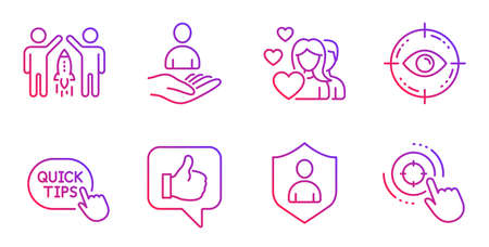 Security, Quick tips and Partnership line icons set. Couple, Eye target and Like signs. Recruitment, Seo target symbols. Private protection, Helpful tricks. People set. Gradient security icon. Vector