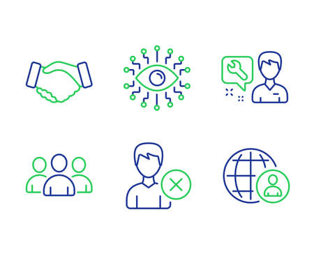 Handshake, Artificial intelligence and Group line icons set. Remove account, Repairman and International recruitment signs. Deal hand, All-seeing eye, Group of users. Delete user. People set. Vector