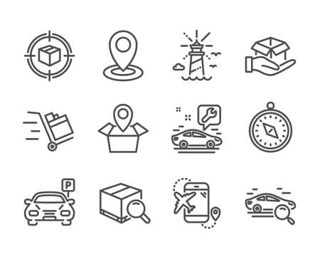 Set of Transportation icons, such as Push cart, Lighthouse, Parcel tracking, Travel compass, Search package, Hold box, Location, Search car, Parking, Flight destination, Package location. Vector Reklamní fotografie - 133856003