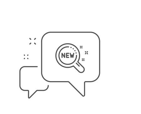 New products line icon. Chat bubble design. Search sign. Magnifier glass symbol. Outline concept. Thin line new products icon. Vector