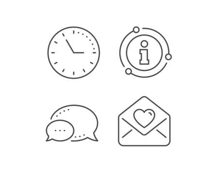 Love letter line icon. Chat bubble, info sign elements. Heart mail sign. Valentine day symbol. Linear love letter outline icon. Information bubble. Vector