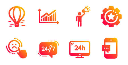 24h service, 247 service and Settings gear line icons set. Air balloon, Dislike and Brand ambassador signs. Graph, Smartphone message symbols. Call support, Technology process. Vector