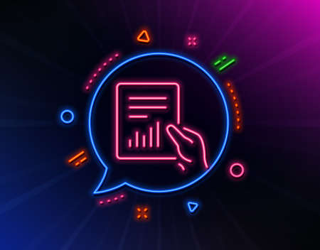Hold Report document line icon. Neon laser lights. Analysis Chart or Sales growth sign. Statistics data symbol. Glow laser speech bubble. Neon lights chat bubble. Vector