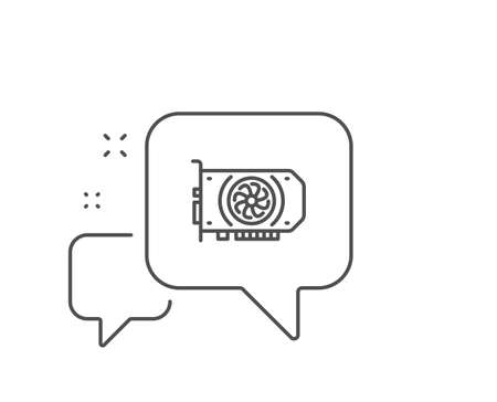 Gpu graphic card line icon. Chat bubble design. Computer component hardware sign. Outline concept. Thin line gpu icon. Vector