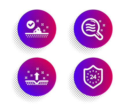 Skin care, Skin condition and 24 hours icons simple set. Halftone dots button. Face cream, Search magnifier, Cosmetics. Protection. Beauty set. Classic flat skin care icon. Vector