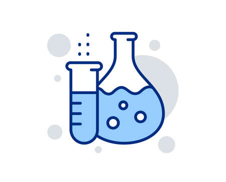 Chemistry flask line icon. Laboratory tube sign. Analysis lab symbol. Linear design sign. Colorful chemistry flask icon. Vector Illustration